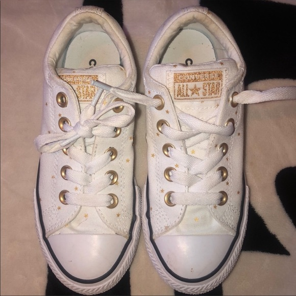White All Star Converse With Gold Stars